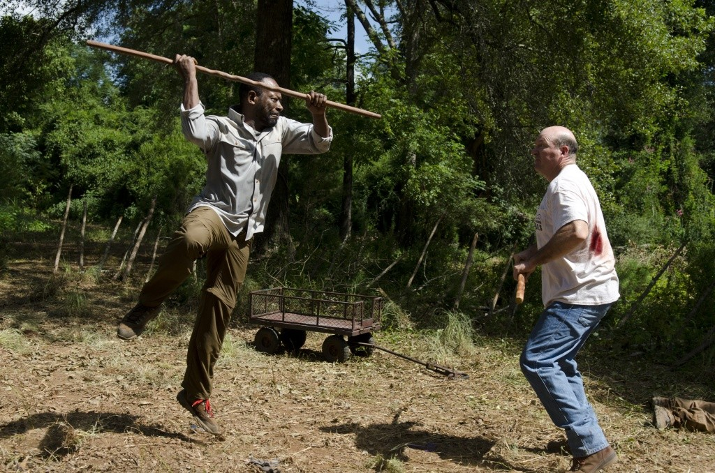 Lennie James as Morgan Jones and John Carroll Lynch as Eastman - The Walking Dead _ Season 6, Episode 4 - Photo Credit: Gene Page/AMC
